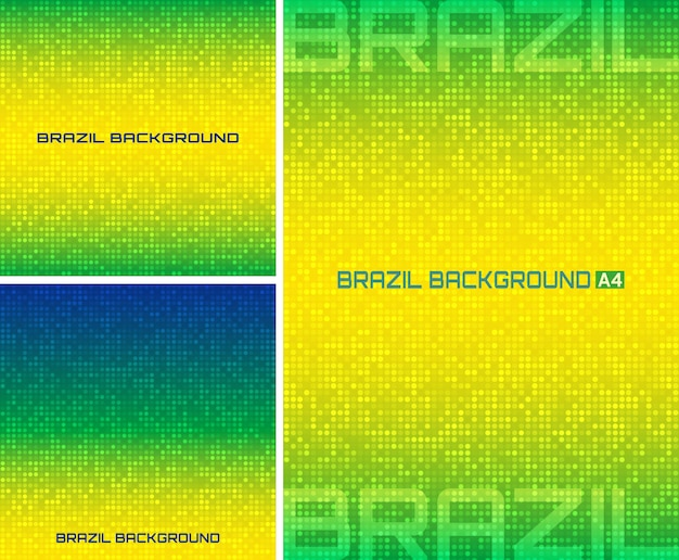 Conjunto de fondo digital de píxeles abstractos con colores brasileños, tamaño a4, formato cuadrado.