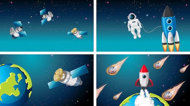 Conjunto de fondo de escenas de espacio