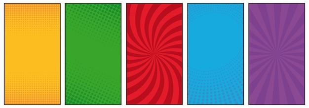 Conjunto de fondo de estilo de cómic de semitono y líneas
