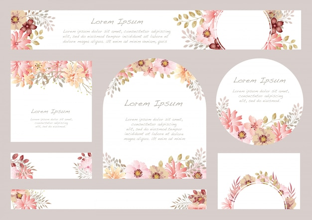Conjunto de fondo floral acuarela con espacio de texto, ilustración.
