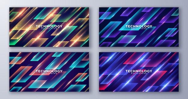Conjunto de fondo futurista geométrico abstracto.