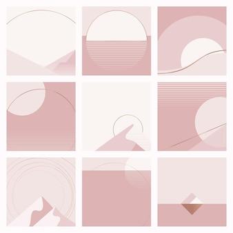 Conjunto de fondo geométrico de estilo nórdico rosa mínimo