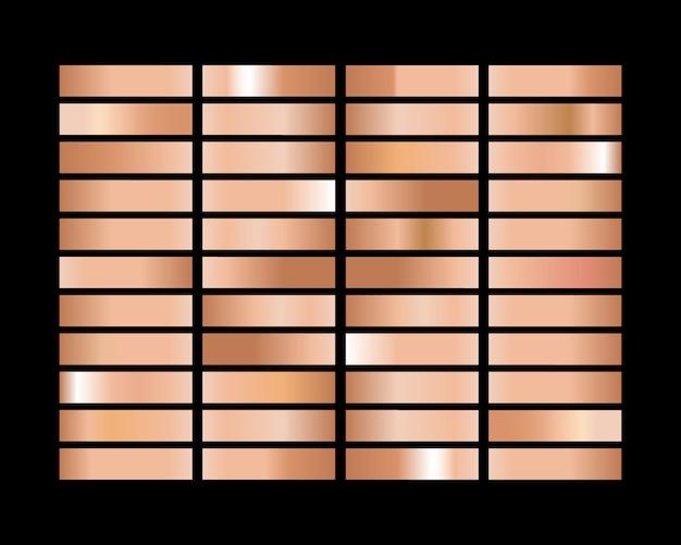 Conjunto de fondo de gradación de textura de hoja de oro rosa, bronce y oro