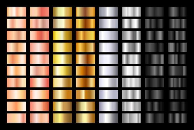 Conjunto de fondo de gradación de textura de oro rosa plata negro y oro
