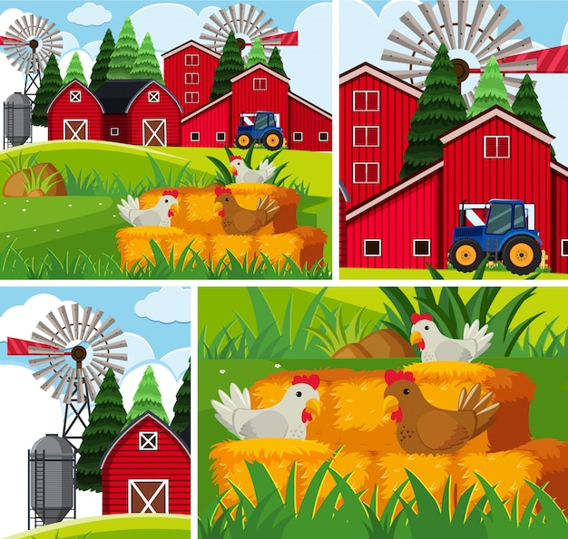 Conjunto de fondo de granja simple