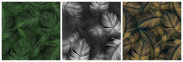 Conjunto de fondo de hojas de verano tropical con plantas de la selva