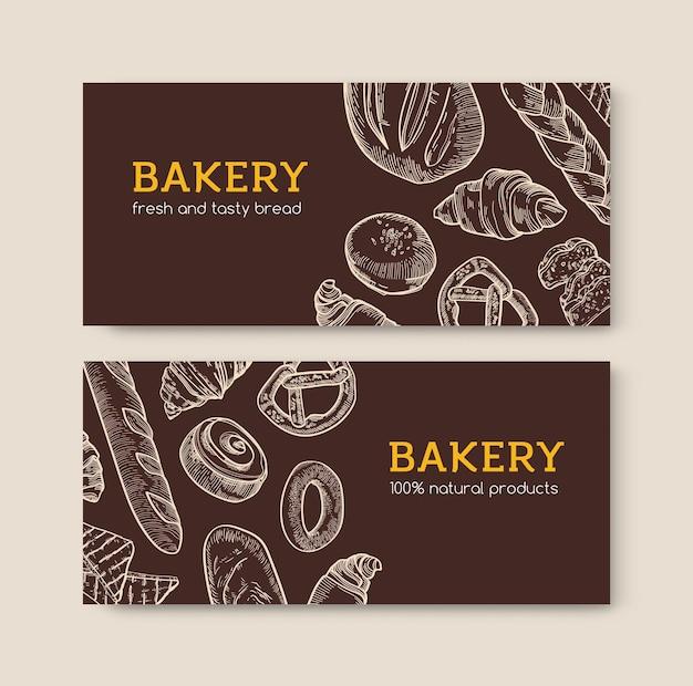 Conjunto de fondo horizontal con deliciosos panes y sabrosos productos horneados dibujados a mano con líneas de contorno