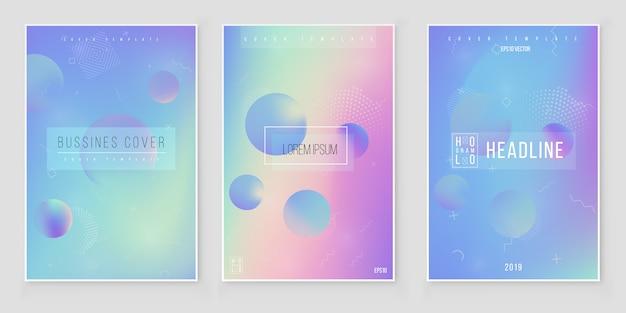 Conjunto de fondo iridiscente holográfico abstracto. tendencias de estilo moderno años 80 y 90. vector de lámina holográfica