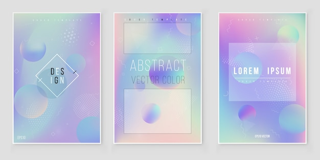 Conjunto de fondo iridiscente holográfico abstracto tendencias de estilo moderno años 80 y 90