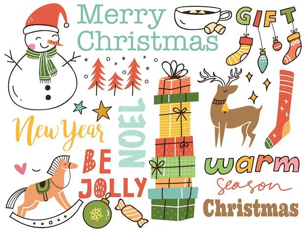 Conjunto de fondo lindo doodle de navidad