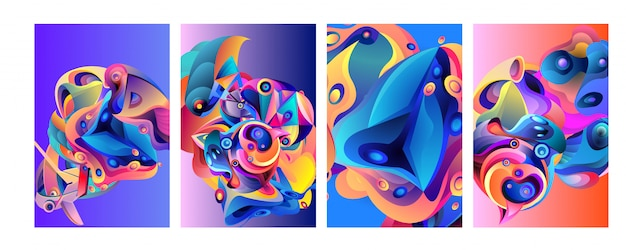 Conjunto de fondo moderno abstracto colorido del cartel del vector