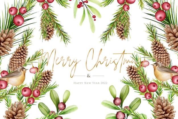 Conjunto de fondo de navidad acuarela dibujada a mano