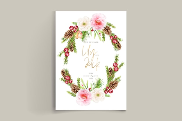Conjunto de fondo de navidad floral dibujado a mano