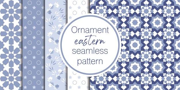 Conjunto de fondo ornamental y geométrico