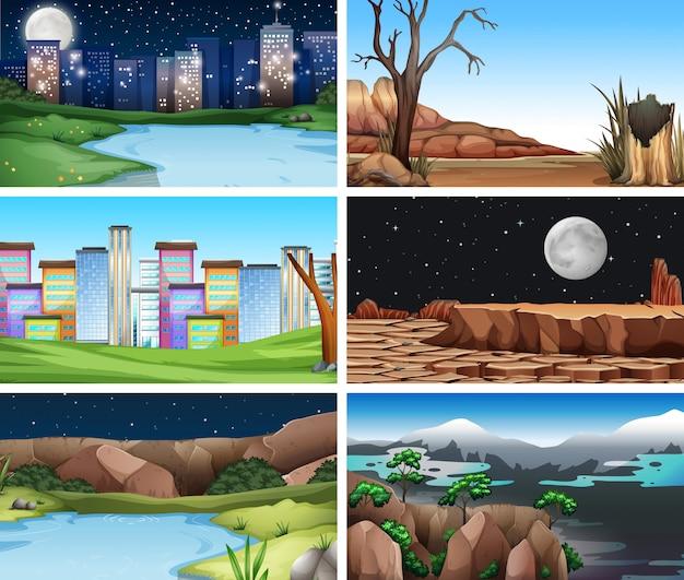 Conjunto de fondo de paisajes de la naturaleza.