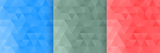 Conjunto de fondo de patrón de forma de triángulo de tres