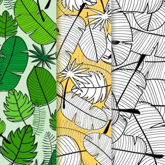 Conjunto de fondo de patrón de hojas tropicales.