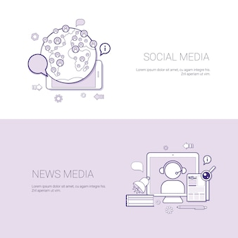 Conjunto de fondo de la plantilla del concepto del negocio de las banderas sociales y de los medios de noticias con el espacio de la copia