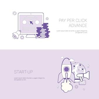 Conjunto de fondo de plantilla de concepto de negocio de pago por clic y puesta en marcha de banners con espacio de copia