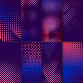 Conjunto de fondo de semitono púrpura y rosa