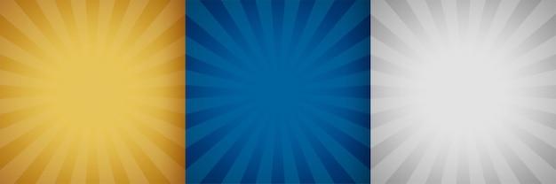 Conjunto de fondo sunburst de tres colores