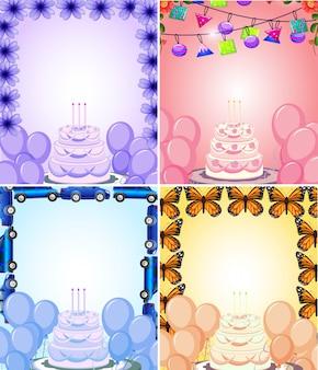 Conjunto de fondo de tarjeta de cumpleaños enmarcado