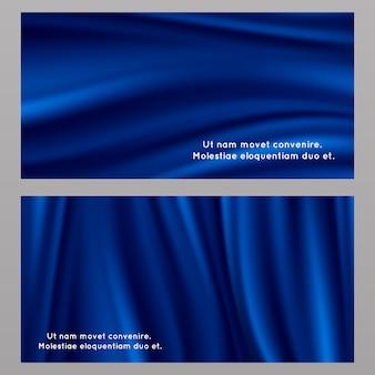 Conjunto de fondo de tela de seda azul
