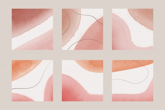 Conjunto de fondo de tonos pastel acuarela abstracta