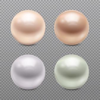Conjunto de fondo transparente de perlas realistas