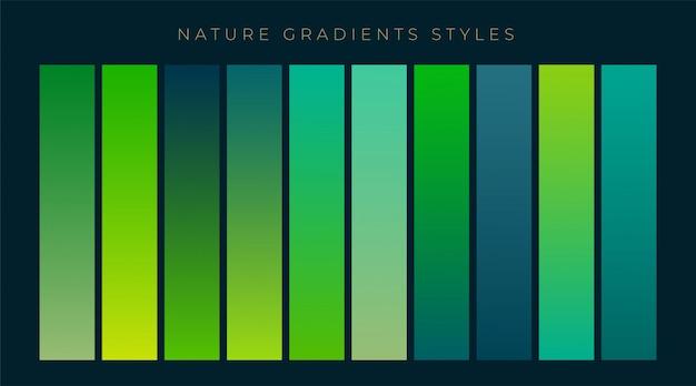 Conjunto de fondo verde frescos degradados