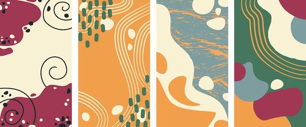 Conjunto de fondo vertical abstracto con colores otoñales en estilo de una línea. fondo para el estilo minimalista de la página de la aplicación móvil. ilustración vectorial