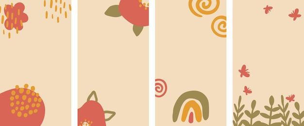 Conjunto de fondo vertical abstracto pastel en un estilo acogedor. fondo para aplicaciones móviles e historias de estilo minimalista.