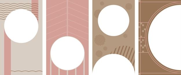 Conjunto de fondo vertical abstracto pastel en un estilo. fondo para aplicaciones móviles e historias de estilo minimalista.