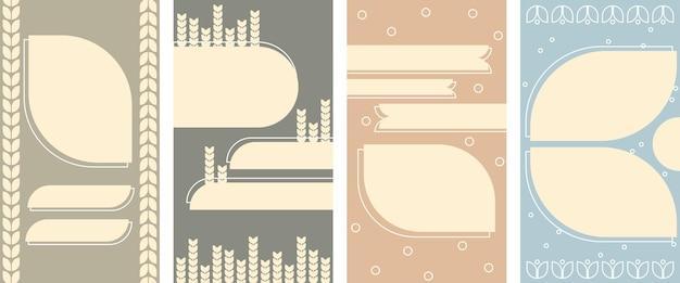 Conjunto de fondo vertical abstracto pastel en un estilo de trigo. fondo para aplicaciones móviles e historias de estilo minimalista.
