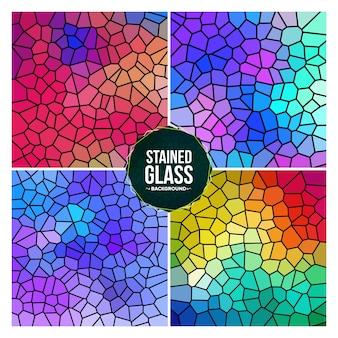 Conjunto de fondo de vidrieras rotas multicolor