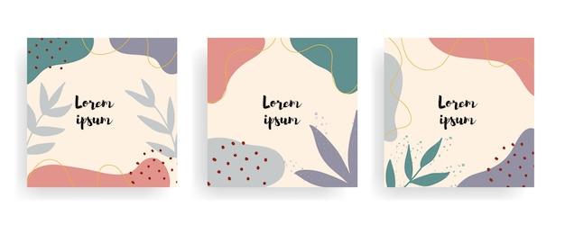 Conjunto de fondo vintage floral cuadrado con plantilla de título