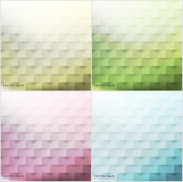 Conjunto de fondos abstractos de 4. fondos geométricos coloridos.