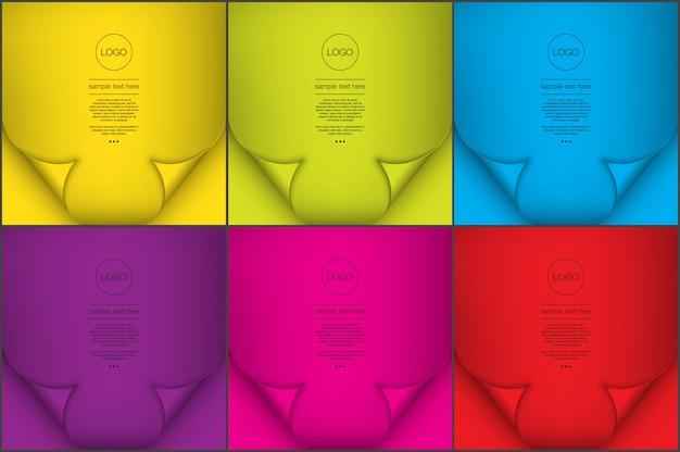 Conjunto de fondos abstractos de 6. fondos de estilo de papel de color brillante con efecto de rizo de página.