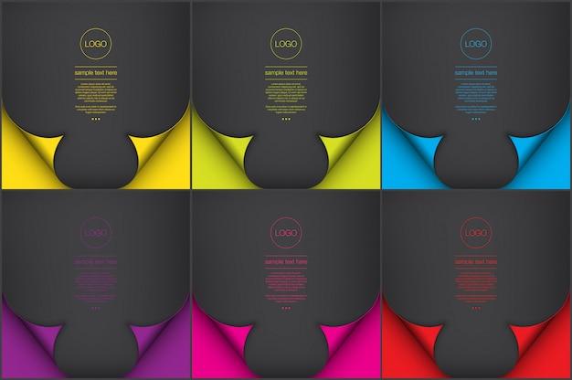 Conjunto de fondos abstractos de 6. fondos de estilo de papel de color negro con efecto de página de rizo.