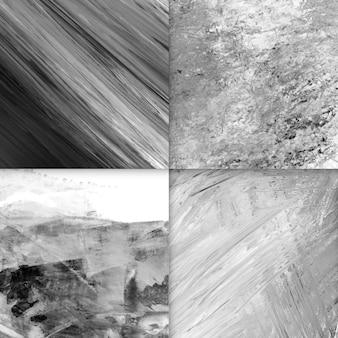 Conjunto de fondos abstractos acrílicos, blanco y negro.