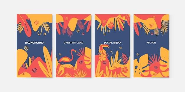 Conjunto de fondos abstractos en colores de moda para redes sociales.