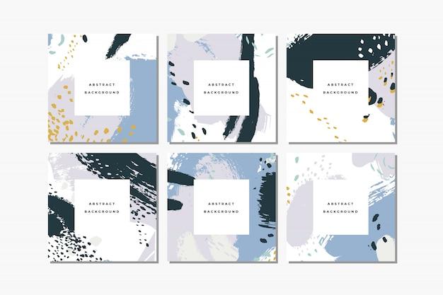 Conjunto de fondos abstractos dibujados a mano cuadrados pastel con pinceladas artísticas y manchas de pintura.