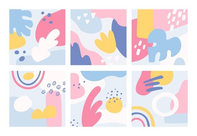 Conjunto de fondos abstractos dibujados a mano