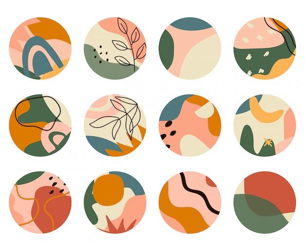Conjunto de fondos abstractos. diferentes formas abstractas. resumen aislado iconos redondos para historias más destacados. dibujado a mano doodle objetos y formas.