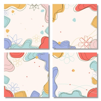 Conjunto de fondos abstractos fondo pastel abstracto fondo moderno de moda estilo memphis