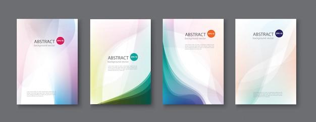 Conjunto de fondos abstractos con ondas de línea. ilustración.