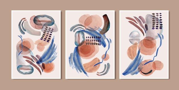 Conjunto de fondos de acuarela abstracta de impresión de arte minimalista