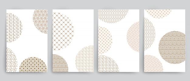 Conjunto de fondos con círculos y diferentes diseños geométricos dorados.