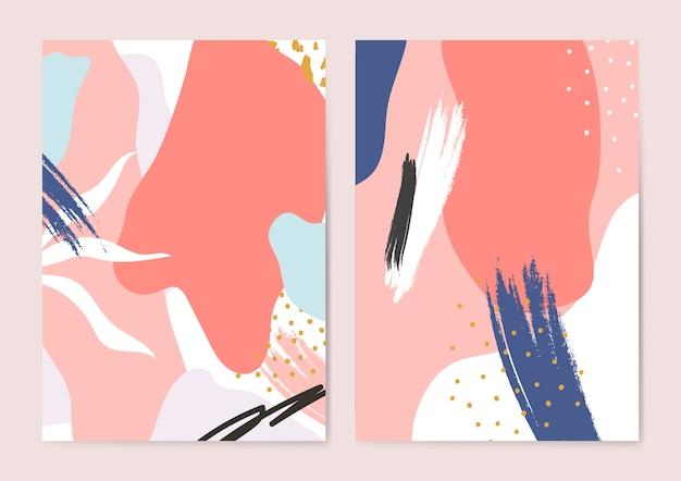 Conjunto de fondos de colores de estilo memphis
