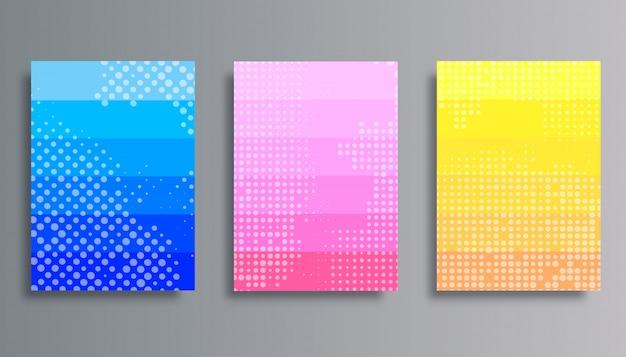 Conjunto de fondos coloridos degradados con patrón de semitono